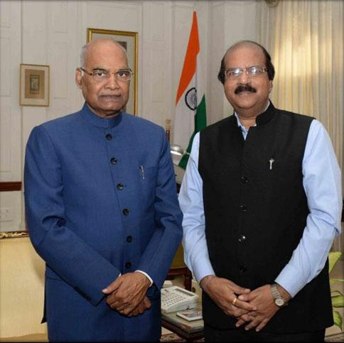 Dr. CA Ashwani Kumar with HonourableRam Nath Kovind, President of India